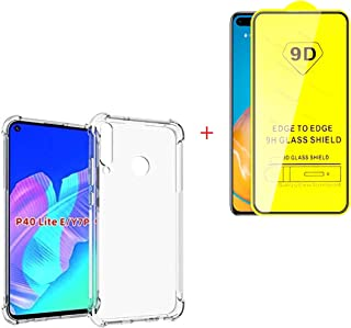Crystal Clear Case compatible with Huawei Y7p / Huawei P40 lite + Tempered 9D Screen Protector, Case Cover Protective Bump...