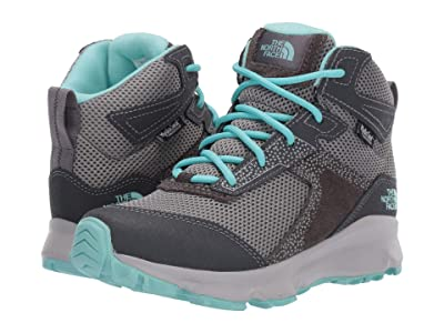 The North Face Kids Hedgehog Hiker II Mid Waterproof (Little Kid/Big Kid) (Blackened Pearl/Aqua Splash) Girls Shoes