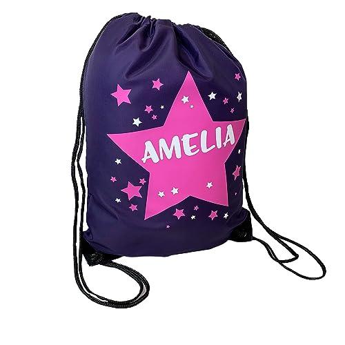 c7e96f496a66 Personalised Kids Purple And Pink Stars Theme Drawstring Swimming