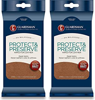 Guardsman Protect & Preserve Wipes for Leather 20 Wipes - Repels Stains, Retains Color and Softness, Great for Leather Fur...