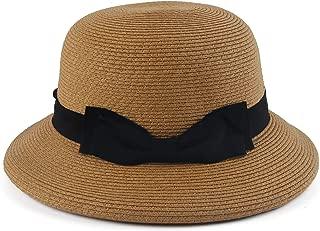 Melesh Women Summer Beach Wide Brim Braided Sun Straw Cloche Hat