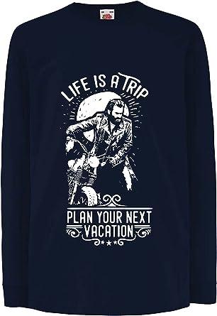 lepni.me Camiseta para Niño/Niña la Vida es un Viaje - Ideas de Regalos para Moteros, diseño gráfico de Bicicletas Vintage, amar Las Motocicletas