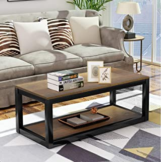 Retro Coffee Table Wood Coffee Table for Living Room Metal Frame with Shelf Easy Assembly, Brown