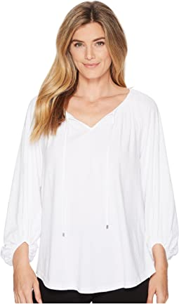 Cotton-Blend V-Neck Top