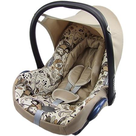 Bambiniwelt Ersatzbezug Für Maxi Cosi Cabrio Fix 6 Tlg Bezug Für Babyschale Sommerbezug Beige Eulen 3 Baby