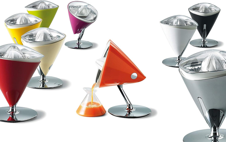 BUGATTI, Vita, Exprimidor eléctrico con jarra en vidrio templado soplado incluida, Capacidad 0,6 litros, Filtro en acero inoxidable, 80 W, Color Blanca Cromo