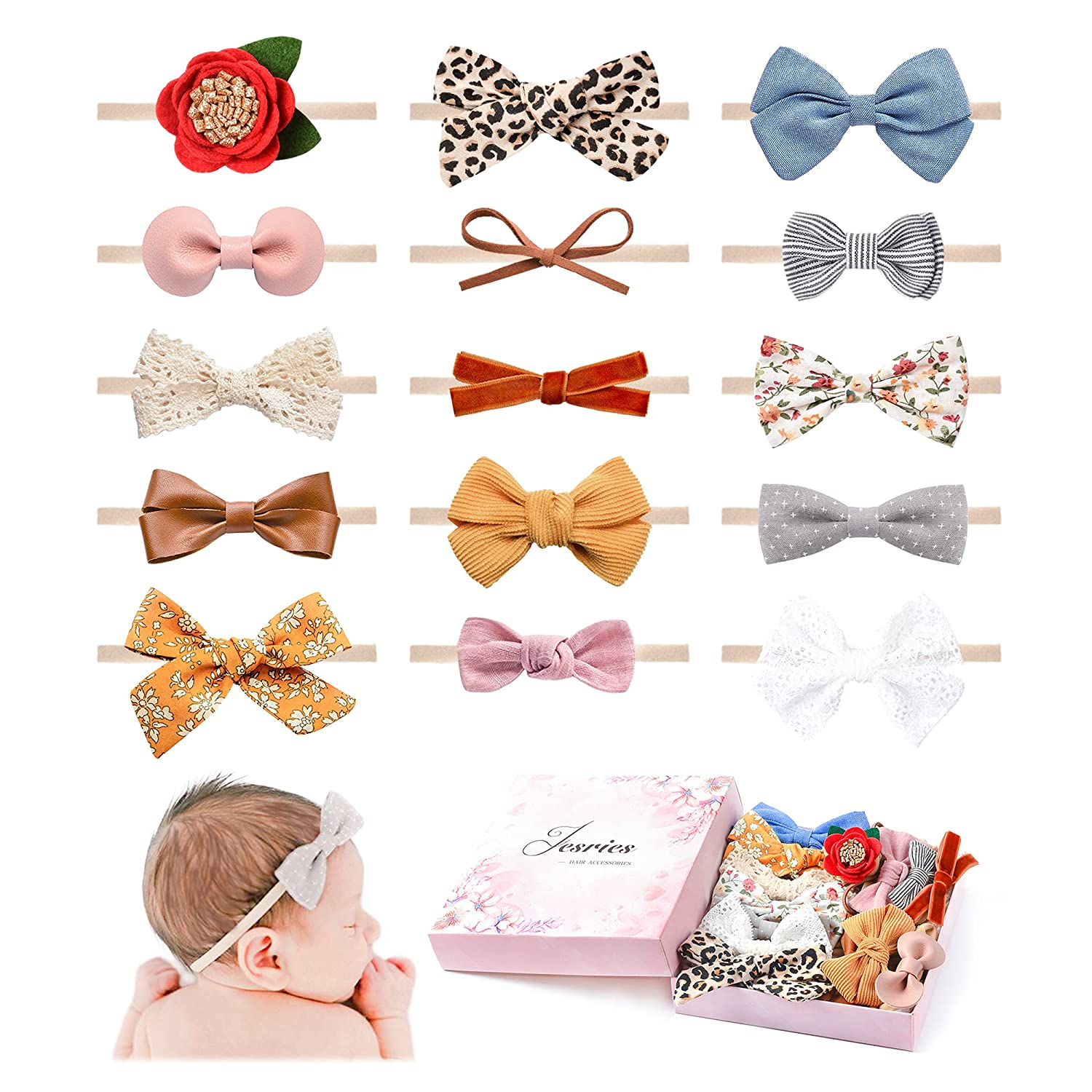 15 PCS Baby Girls Headbands and Bows Hairbands Soft Nylon Elastics Handmade Hair Accessories for Newborn Babies Infant Toddlers Kids