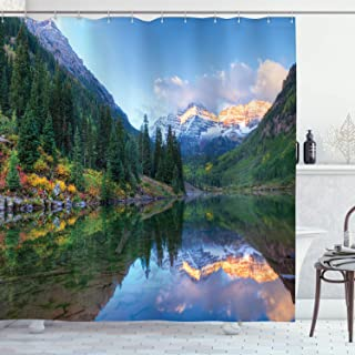 Ambesonne Lake House Decor Collection, Reflection of Snowcapped Maroon Bells in Fall, At Sunrise. Panoramic Picture Print, Polyester Fabric Bathroom Shower Curtain Set with Hooks, Green Yellow