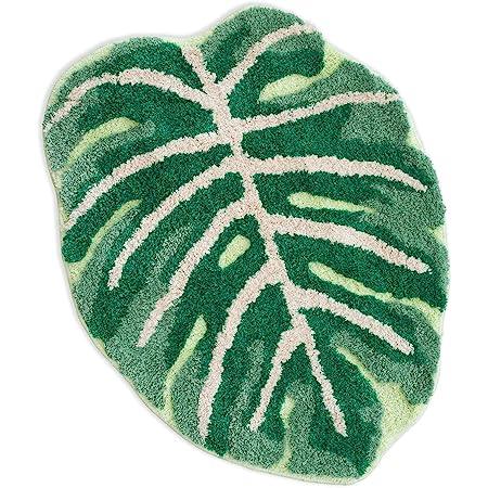FRECKLEPOT Monstera Non Slip Bath Mat or Kitchen Tufted Rug   Plant Leaf Shaped Kids Pets Floor Mat Carpet
