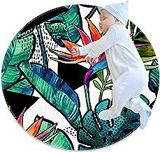 Tecknade blad och blommor, rund matta för barn polyester överkast matta mjuk pedagogisk tvättbar matta barnkammare tipi-tä...