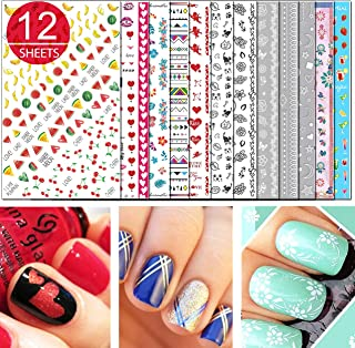 TailaiMei 3D Nail Decals Stickers, 1600+ Pcs Self-adhesive Tips DIY Nail Art Design Stencil (12 Large Sheets)
