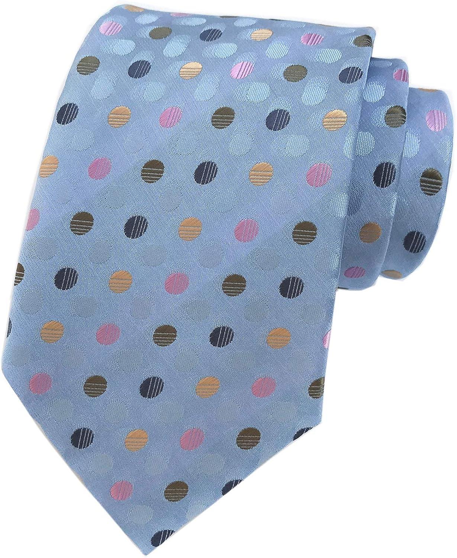 Secdtie Men's Classic Polka Dot Blue Green Pink Jacquard Woven Silk Tie Necktie