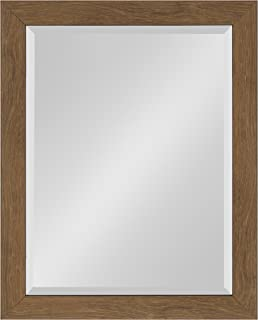 Kate and Laurel Scoop Framed Beveled Wall Mirror, 22x28, Midtone Brown
