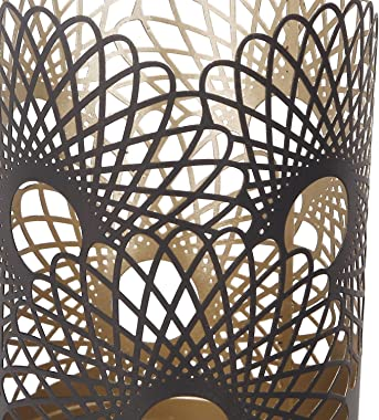 Adeco Modern Contemporary Flower Pattern Style Metal Candle Holder Perfect for Bedroom