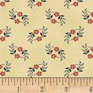Windham Fabrics Nancy Gere Shiloh C.1880 Wreath Fabric, Red, Fabric By The Yard