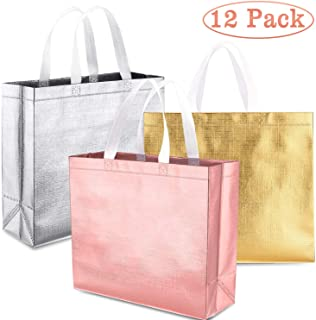 Whaline Set of 12 Glossy Reusable Grocery Bag, Tote Bag with Handle, Non-woven Stylish Gift Bag, Goodies Bag, Shopping Bag, Promotional Bag, for Party,Event,Wedding,Birthday (Rose gold, Gold, Silver)