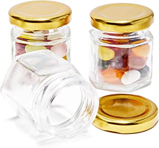 Juvale 36-Pack Bulk 1.5 Ounce Mini Mason Jars With Gold Lids for Spices, DIY Craft Gifts, Wedding and Baby Shower Party Favors