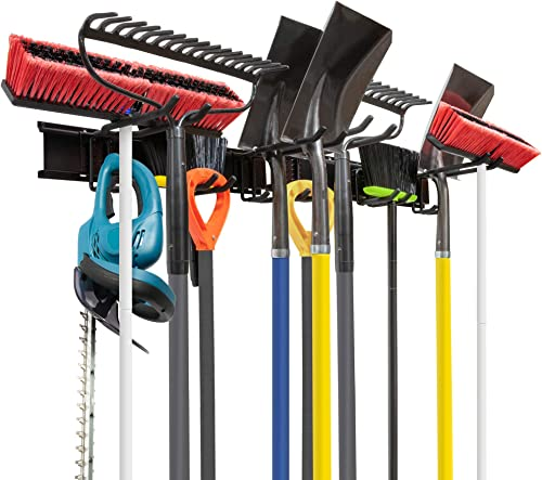lowest Tool Storage Rack, 8 Piece Garage popular Organizer, Metal, Wall mounted, Holder for Broom, Mop, high quality Rake Shovel & Tools, By Right-Hand Storage Solution outlet online sale
