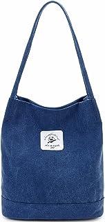 Makukke Handtasche Damen - Canvas Umhängetasche Frauen, Mode Beuteltasche für Büro Schule Einkauf Reise