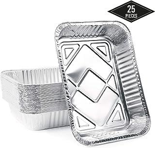 Matana 25 Extra Grandes Bandejas de Aluminio Desechables, 37 x 22 cm Hornear, Asar y Cocinar, Seguro de Usar en Horno e Impermeable.