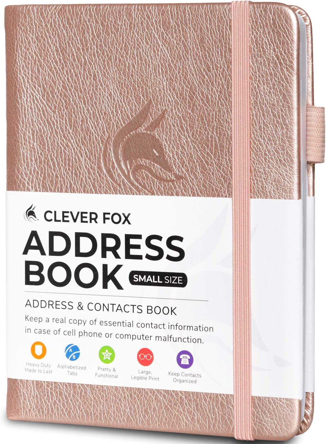 Rose Gold Contact Organizer Journal Hardcover Pocket Sized 4.0x5.5 PU Leather Telephone and Address Book for Keeping Contacts Safe Clever Fox Address Book with alphabetic tabs
