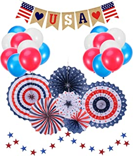 4th of July Decorations |Patriotic Decorations |American Independence Day |July 4th |Include 6pcs Paper Fans |30pcs Balloons |1pcs USA Letter Banner |Star Streamers 1pcs |Party Decor Supplies
