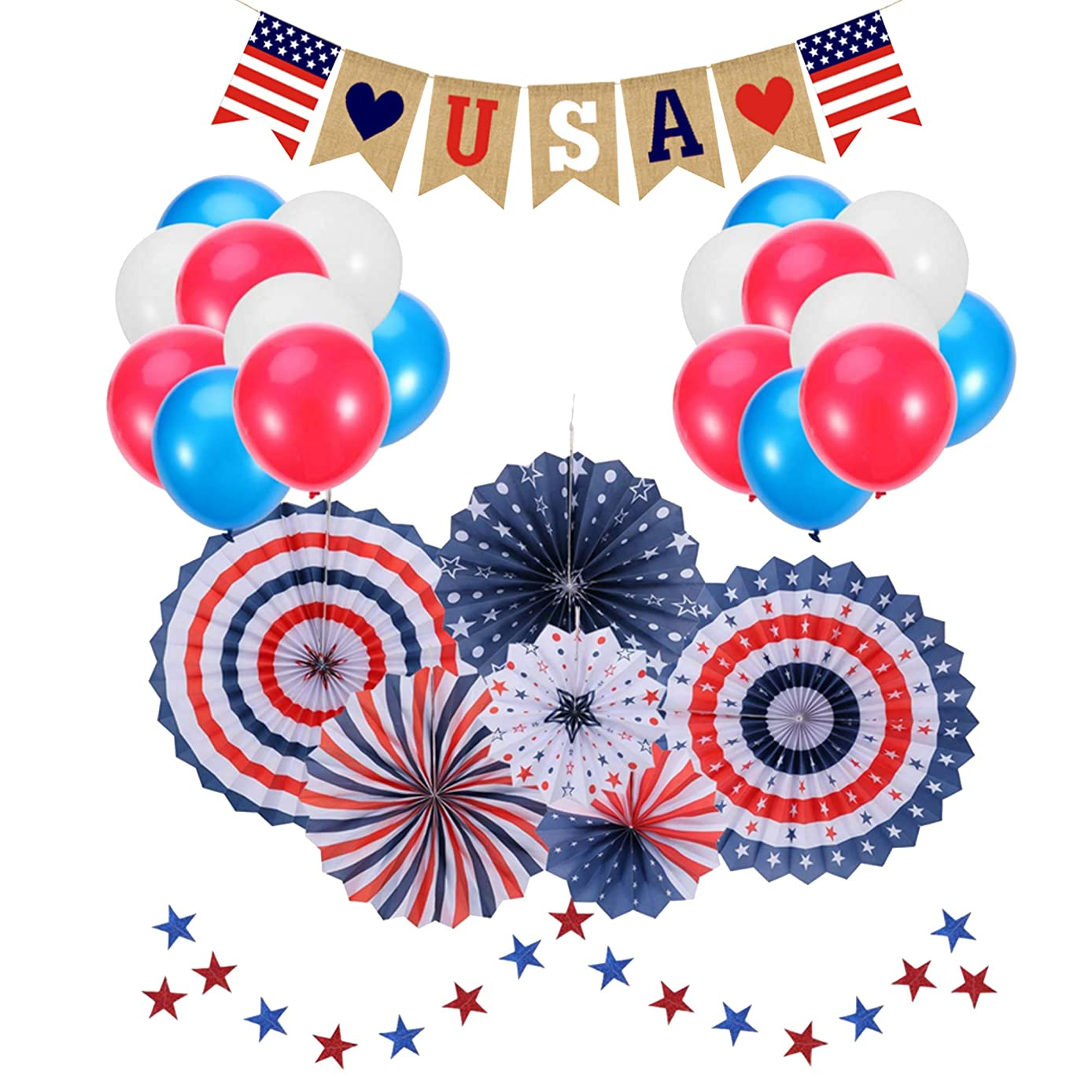 4th of July Decorations  Patriotic Decorations  American Independence Day  July 4th  Include 6pcs Paper Fans  30pcs Balloons  1pcs USA Letter Banner  Star Streamers 1pcs  Party Decor Supplies