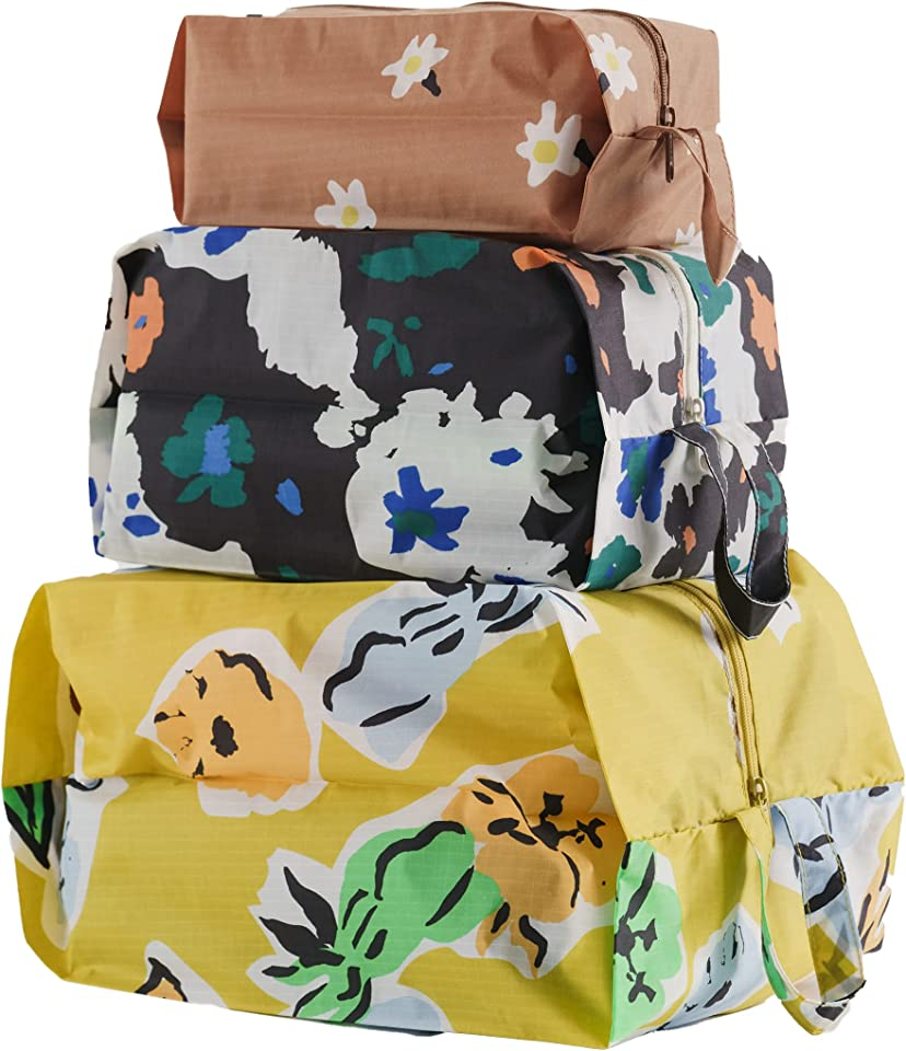3D Zip Set, Expandable Nylon Zip Pouch 3 Pack For Travel And Organization, Archive Florals