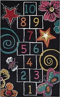 Mohawk Home  Aurora Hopscotch Chalk Colorful Printed Contemporary Kids Area Rug,5'x8',Black