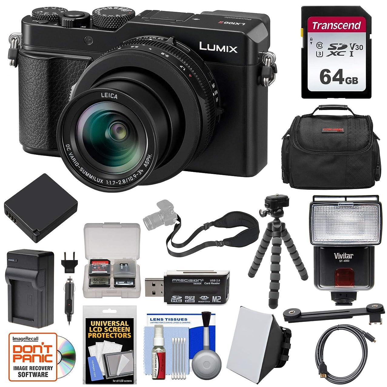 Panasonic Lumix DC-LX100 II 4K Wi-Fi Digital Camera with 64GB Card + Battery & Charger + Case + Tripod + Flash + Kit