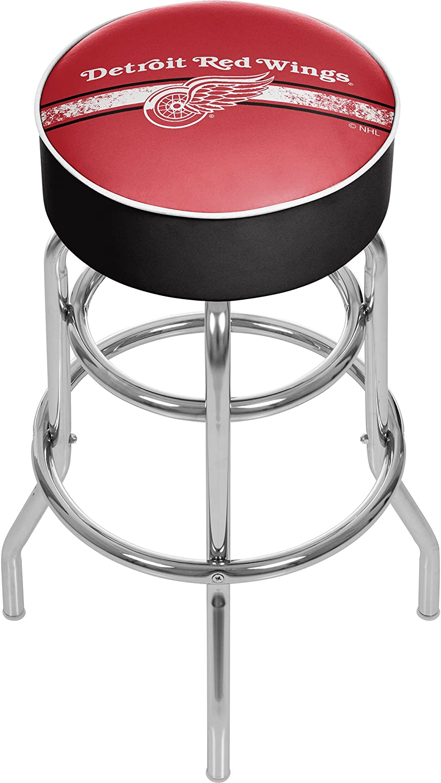 Trademark Gameroom NHL Detroit Redwings Chrome Bar Stool with Swivel