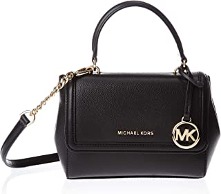 Michael Kors Jet Set Extra-Small Crossgrain Leather Crossbody Bag for Women-Black