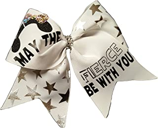Custombows4U Cheer Bows White Star Wars May The Fierce be with You Hair Bow