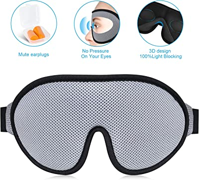 [2019 New UPgrand] Travel Pillow Memory Foam Neck Pillow for Airplane Travel - Breathable & Comfortable Cover, Machine Washable, Ergonomic Neck Support Pillow with 3D Eye Mask, Earplugs & Luxury Bag