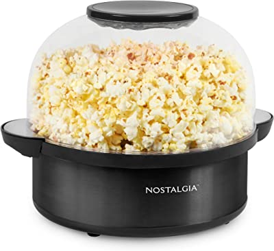 Nostalgia SP6BS Black Stainless Steel 6-Quart Stirring Speed Popcorn Popper With Quick-Heat Technology, Makes 24 Cups of Popcorn, With Kernel Measuring Cup, Oil Free, Makes Roasted Nuts