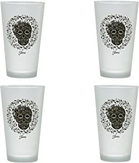 Officially Licensed Fiesta Skull and Vine 16-Ounce Frosted Tapered Cooler Glass Set of 4