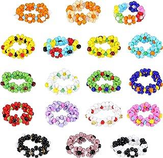 18 Pieces Daisy Flower Bead Rings Set Handmade Multi-color Rings Flower Bead Rings Beaded Jewelry Rings for Women Teens Girls