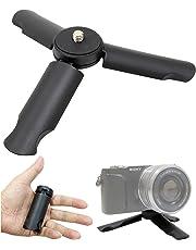 2Way シンプル ミニ三脚 卓上スタンド 折りたたみ 小型 ポータブル スタンド セルフィー ハンドグリップ - スマホ デジタルカメラ ビデオカメラ アクションカム Type:HQ-SMT (BLACK)