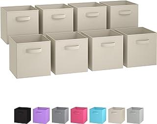 Royexe Storage Bins - Set of 8 - Storage Cubes   Foldable Fabric Cube Baskets Features Dual Handles. Cube Storage Bins. Closet Shelf Organizer   Collapsible Nursery Drawer Organizers (Beige)