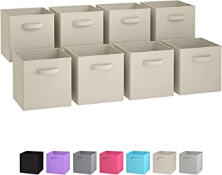 Royexe Storage Bins - Set of 8 - Storage Cubes | Foldable Fabric Cube Baskets Features Dual Handles. Cube Storage Bins. Closet Shelf Organizer | Collapsible Nursery Drawer Organizers (Beige)