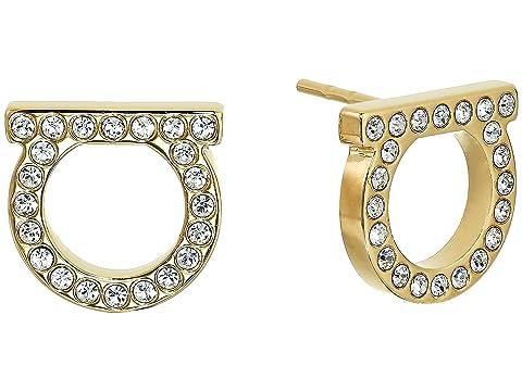 Salvatore Ferragamo Gancini Crystal Stud Earrings