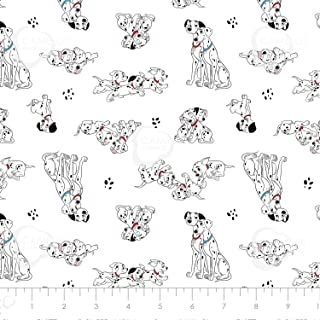 Disney 101 Dalmatians Pongo, Perdy & Puppies in White Premium Quality Cotton by The Yard