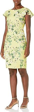 Calvin Klein Women's Flutter Cap Sleeve Sheath Dress with Seam Detail