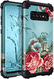 Lontect for Galaxy S10 Plus Case Floral 3 in 1 Heavy Duty Hybrid Sturdy Armor High Impact Shockproof Protective Cover Case...