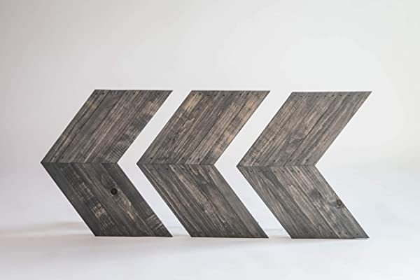 Darla Studio 66 Antique Gray Stained Arrows Chevrons Set Of 3