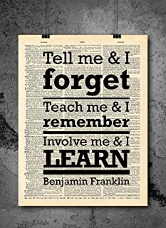 Benjamin Franklin Teach Learn Quote Dictionary Art Print - Vintage Dictionary Art Decor Home Vintage Art Abstract Prints Wall Art for Home Decor Wall Decorations - Print Only