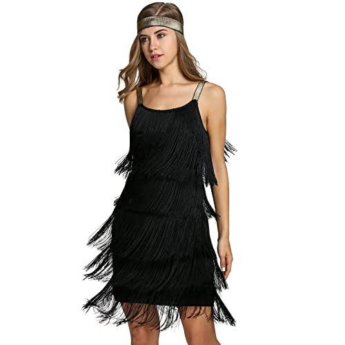 b5c329b69f5 FastDirect Women s Flapper Dresses Vintage 1920s V Neck Beaded Fringed Lace  Tassels Hem Flapper Great Gatsby