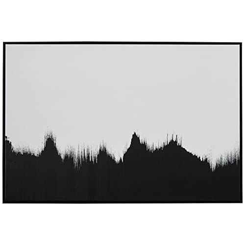 Amazon Brand – Rivet Abstract Black and White Wall Art Print of Tree Line in Black Frame, 36  x 24