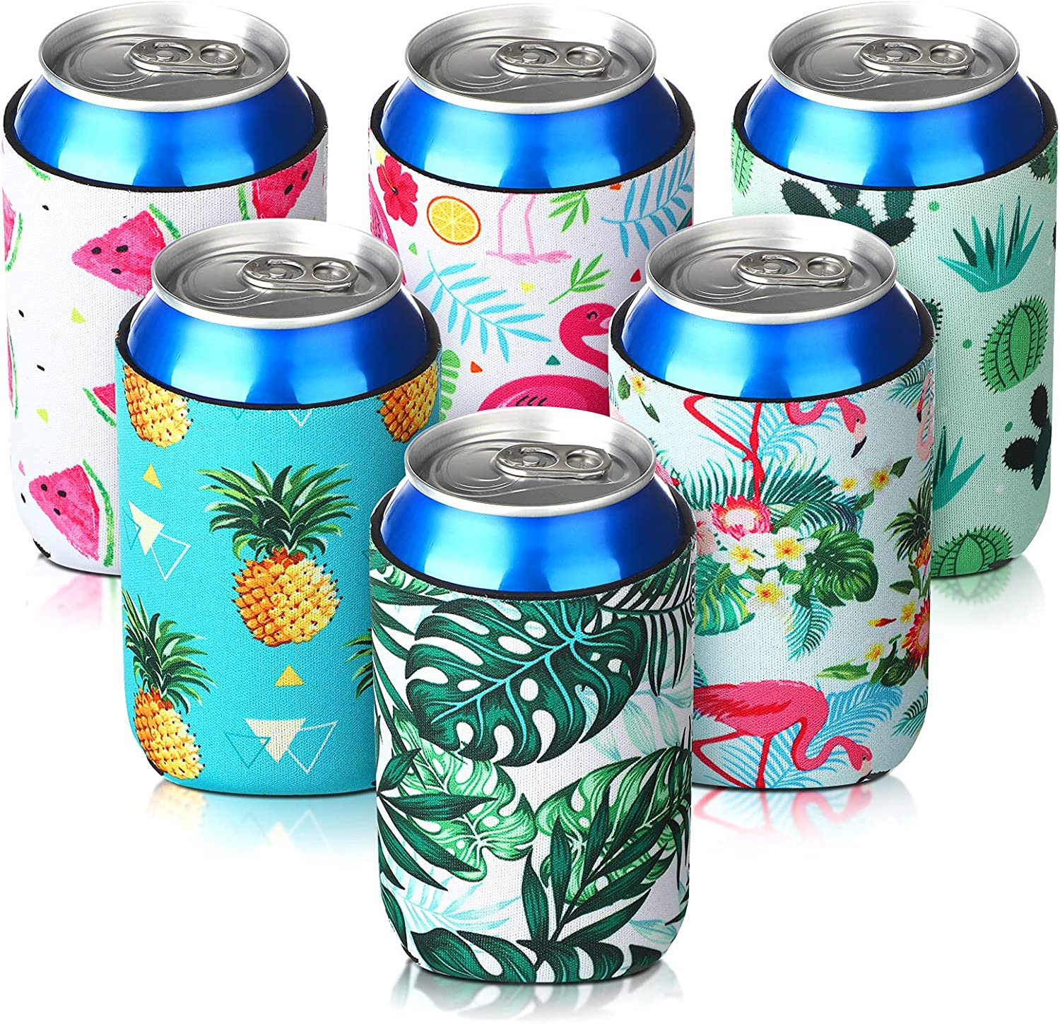 Slim Can Sleeves, Reusable Neoprene Bottle Insulator Sleeve, 12 oz Beverage Can Coolers for Energy Drink and Beer Cans, 6 Pieces (Hawaii Style)