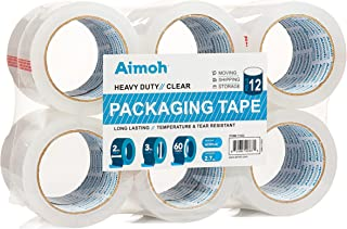 12 Rolls Heavy Duty Clear Packing Tape -Acrylic Adhesive- 2.7mil Super Strong Commercial Grade- Size 1.88 x 60 Yard- 3 Inc...